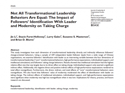 Not All Transformational Leadership Behaviors Are Equal