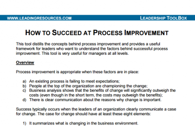How to Succeed at Core Process Improvement