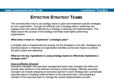 Developing Effective Strategy Teams
