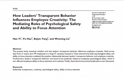 How Leaders' Transparent Behavior Influences Employee Creativity
