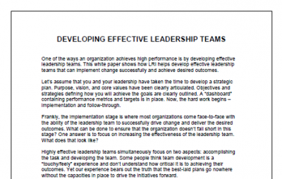 Developing Effective Leadership Teams