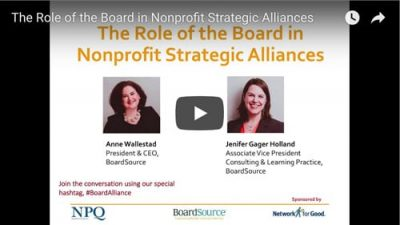 The Role of the Board in Nonprofit Strategic Alliances