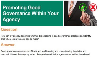 Promoting Good Governance Within Your Agency
